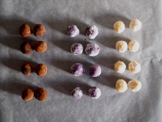 Toblerone, Blueberry, Lemon truffles